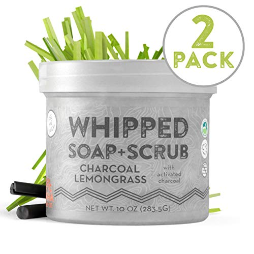 Whipped Soap + Scrub Body Wash - Detoxifying Charcoal and Lemongrass - Luxurious Body Wash and Scrub for an Exfoliating Head to Toe ()