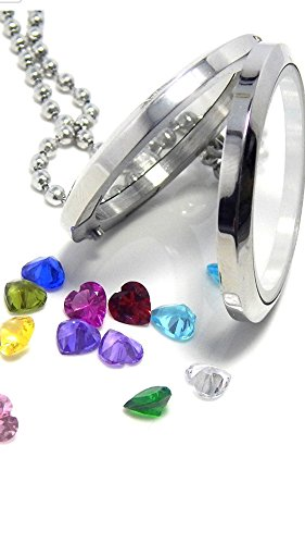 SET OF 12- 5mm HEART BIRTHSTONE/accent crystal charm- for glass floating locket