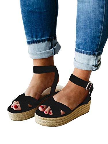 Syktkmx Womens Strappy Flatform Espadrille Sandals Summer Slingback Platform Ankle Strap Sandals D-Black ()