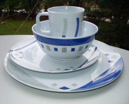 16-Piece Melamine Set, Cubic Blue, Camping Crockery flamefeld F0085 502341285116