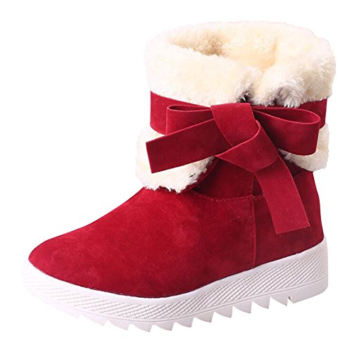 Fully Boots Skid Resistant Fur Red Decorative Bows Women's Ankle Optimal Bb With Lined Winter Snow Boots Warm qwHyfxAIzO