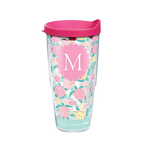 Tervis 1296409 Simply Southern Pastel Turtle Initial M 24 oz Tumbler with lid 24oz Clear