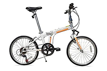 Allen deportes central Aluminio 7 velocidad bicicleta plegable con suspensión, blanco, 30 cm/