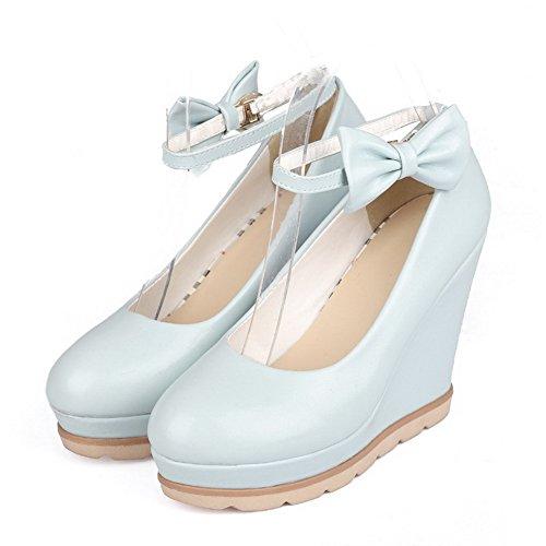 Korkokenkiä Naisten Suljetun Allhqfashion Bowknot Sininen Pehmeä kengät Pumput Materiaali Toe Ympäri 1wRqqI