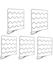 5 Pack Plastic Shelf Dividers,Organizer for Closet, Wood Closets Shelves Organizer and Separator for Kitchen Cabinet,Bookcase, Sweater,Towels and Hats Separators for Wood Shelf (White)