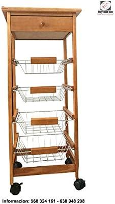 Mueble Gestion Carrito Frutero Verdulero con 4 cestas y Cajon para ...
