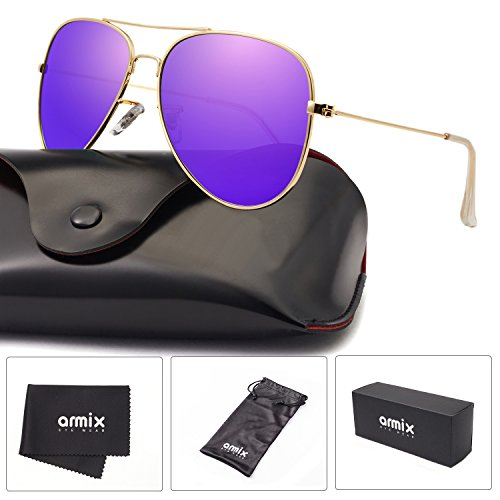 ANMIX Aviator Polarized Sunglasses for Men & Women with Eyeglasses Case - UV - Sunglasses Purple Cheap