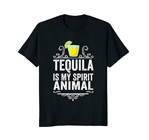 Mens Tequila Is My Spirit Animal T-Shirt - Funny Drinking Tee 3XL Black