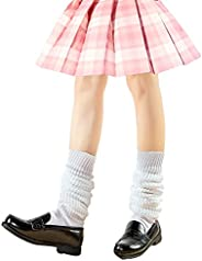 AWOCAN Loose Socks Japanese Style Student Girl's Socks White Lolita Leg Warmer Bubble Slouch Cotton 15.7-7