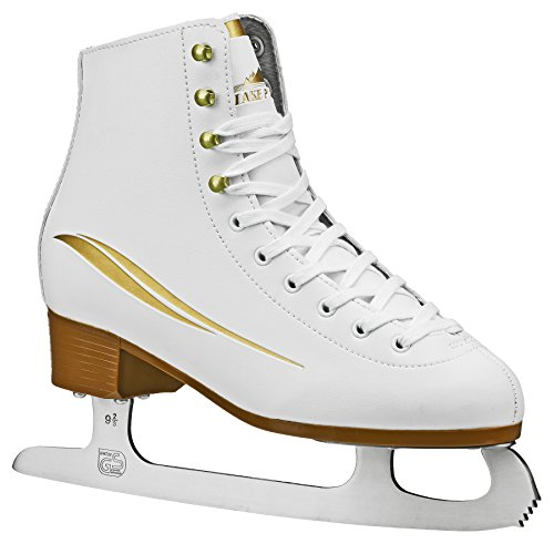 Leather Lined Girls Figure Skates - Lake Placid LP311W07 Cascade Women's Figure Ice Skate, White/Gold Accent, Size 7