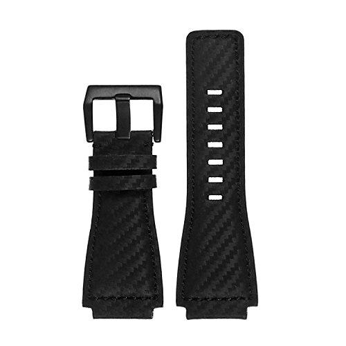 arbon Fiber Watch Band Strap w Matte Black Buckle ()