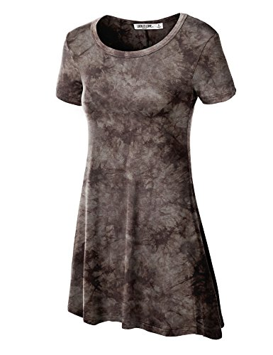 (Over Tie Dye Trapeze Tunic Top XL Brown )