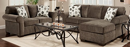Roundhill Furniture Fabric Sectional Sofa and Loveseat Set with Pillows, Elizabeth - Room Loveseat Ash Living