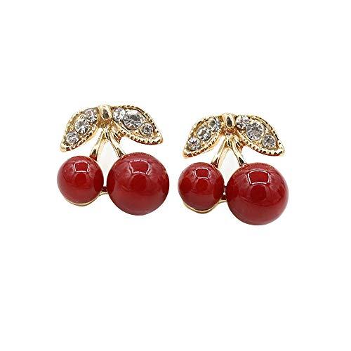 - Euone  Earrings, Women Fashion Cherry Drop Dangle Rhinestone Ear Hook Earrings Jewelry Gift