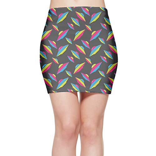 Women's Alien UFO High Waisted Bodycon Mini Skirt Sexy Party Skirt White