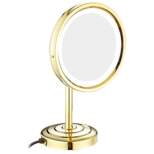 GURUN 8-Inch Tabletop Swivel Vanity Mirror with LED Light 10x Magnification,Gold Finish M2209DJ(8in,10x)