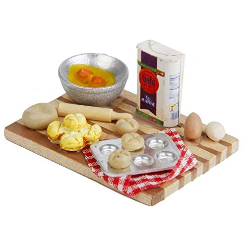 EatingBiting(R) 1:12 Dollhouse Miniature Kitchen Doll Food Chopping Snack Bread Board Table ()