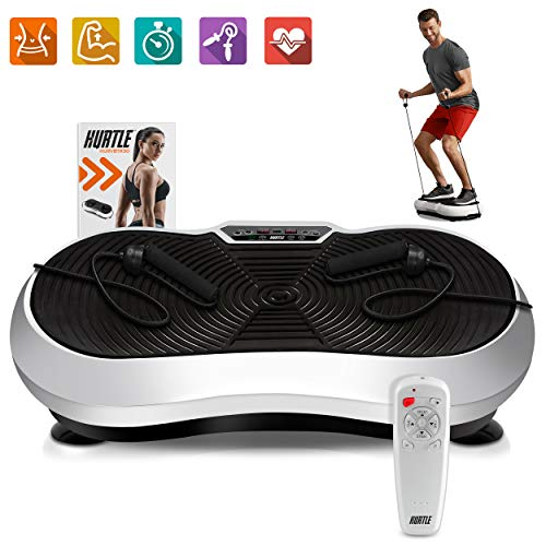 Hurtle Fitness Vibration Platform Workout Machine | Exercise Equipment For Home | Vibration Plate | Balance Your Weight Workout Equipment Includes, Remote Control & Balance Straps Included (HURVBTR30), Black