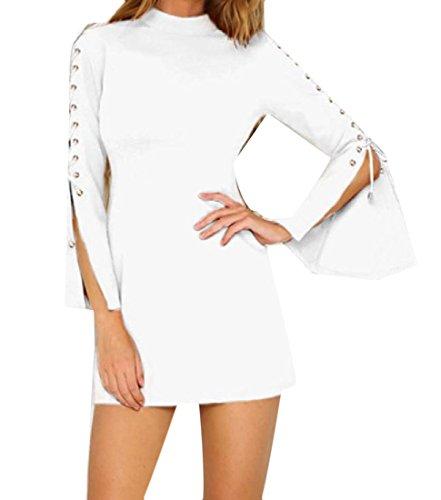 Strappy Sera Coolred Personalizzato Chiarore Del Del Cerniera Bianco Manicotto donne Di Da Partito Vestito 5qRwFqY