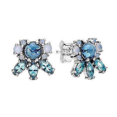 Pandora Pattern of Frost Earrings - Silver Multi Colored Icicle Shape Crystal Stud Earring - 290731NMBMX