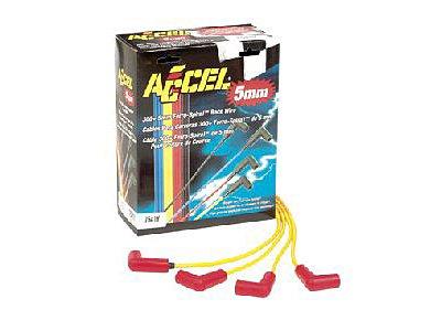 (Accel 7541Y 5mm 300+ Ferro-Spiral Race Plug Wires 90° Spark Plug Boots)