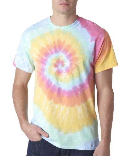 ns Rainbow Swirl Tie-Dye Tee Crew Neck T Shirt XL Aerial ()