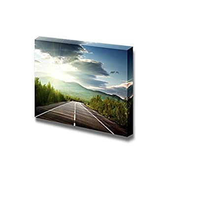 Beautiful Scenery Landscape Mountain Road Highway in The Morning Sunray - Canvas Art Wall Art - 32