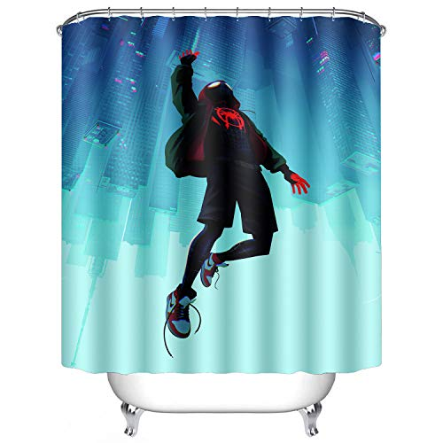 (AWRFYAFT Spiderman Shower Curtain Waterproof Mildew Polyester Fabric 12 Pack Plastic Hooks 60X72 Inches)