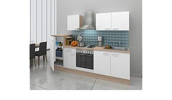 Respekta - Bloque de cocina empotrado en esquina, 270 cm, roble natural, réplica blanca: Amazon.es: Hogar