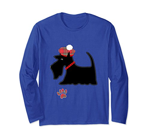 Unisex Black Scottish Terrier Dog Lovers Cute Long Sleeve Shirt Medium Royal Blue (Scottie Dog T-shirt)