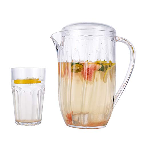 Xena 5 Piece Classic Shatterproof Acrylic Clear Pitcher with Lid Matching Tumblers Set, 2L Liter Jug Utensil Cup Mug Camping Kitchenware Gift Dinner Parties Barbecue Celebration Lemonade Iced Tea