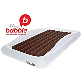 The Shrunks Toddler Travel Bed Portable Inflatable Air Mattress Blow Up Bed for Indoor/Outdoor Camping, Backyard, Hotel, or Home Use Kids Floor Bed with Security Bed Rails and Electric Pump 7