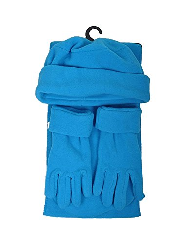 Turquoise Solid Polyester Fleece 3-Piece gloves scarf Hat Winter Set WSET50