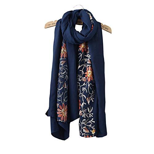 Women Sheer Lightweight Embroidery Chiffon Scarf Vintage Wrap Shawls Fashion Ladies Scarves