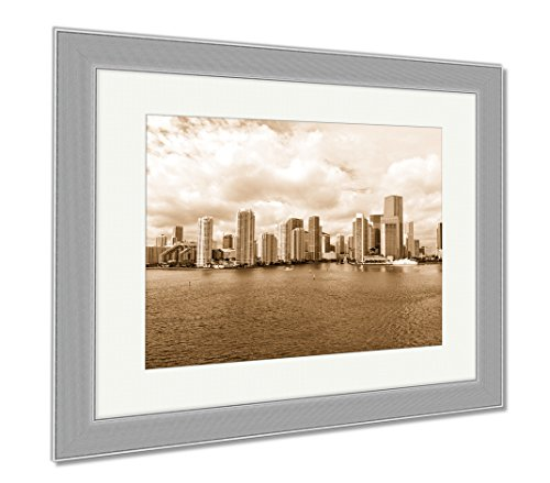 Ashley Framed Prints Miami Seascape With Skyscrapers In Bayside Downtown, Wall Art Home Decoration, Sepia, 30x35 (frame size), Silver Frame, - Bayside Miami Shops