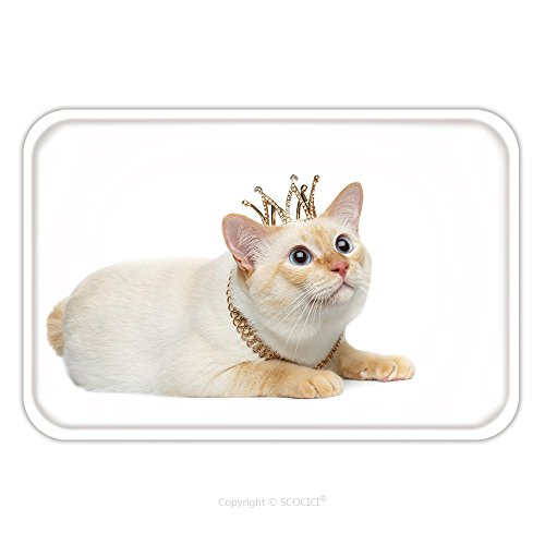 White Crown Phoenix Costume (Flannel Microfiber Non-slip Rubber Backing Soft Absorbent Doormat Mat Rug Carpet Beautiful Breed Mekong Bobtail Cat Blue Eyed Lying With Crown On Head Looking Up Isolated White 478970122 for Indoor/Ou)