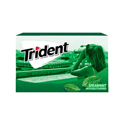 Trident Spearmint Flavor Sugar Free Gum-12 Packs (168 Pieces Total) Packaging May -