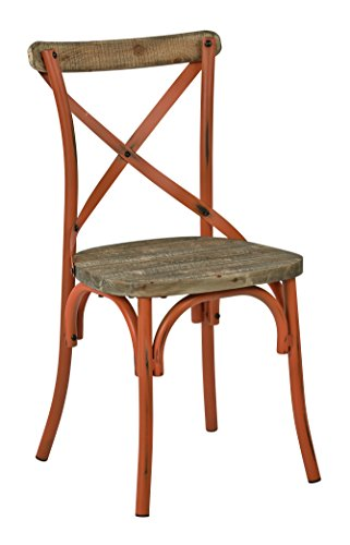 OSP Designs SMR424WAS-AOR-osp Somerset X-Back Antique Metal Chair with Hardwood Rustic Seat Finish, Orange/Walnut by OSP Designs