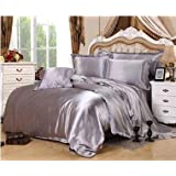 LOVE(TM)4Pieces/Set Imitate Silk Bedding Set Duvet Cover Pillowcases Imitate Silk Sheet Luxury Bedding Queen Size