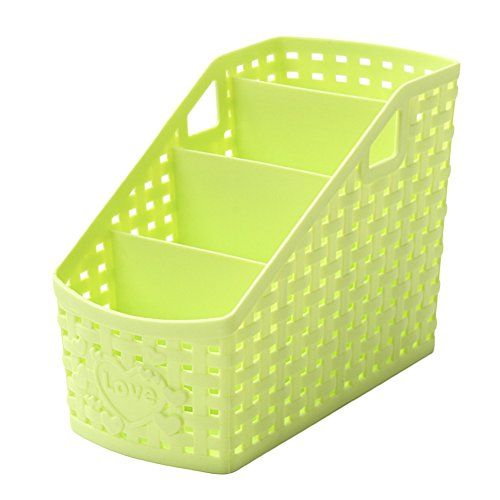 Small 4 Grid Storage Box Desktop Storage Basket Plastic Rattan Plaited Desk Organizer Four Checks Multifunctional Cosmetics Makeup Storage Holder for Office Desk (Green)