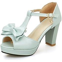 BalaMasa Ladies Metal Bowknot T Strap Blue Patent Leather Sandals - 5 B(M) US