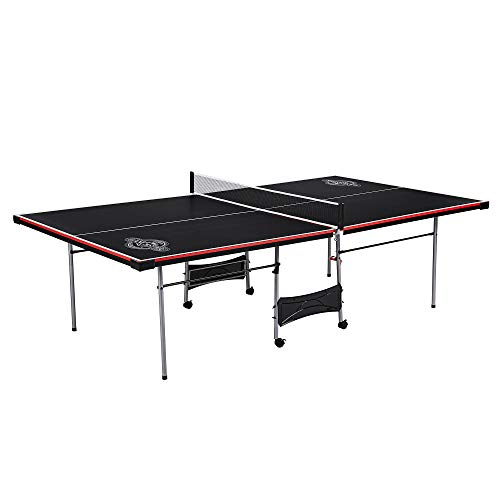 Lancaster 4 Piece Official Tournament Size Indoor Folding Table Tennis Ping Pong Game Table, Black