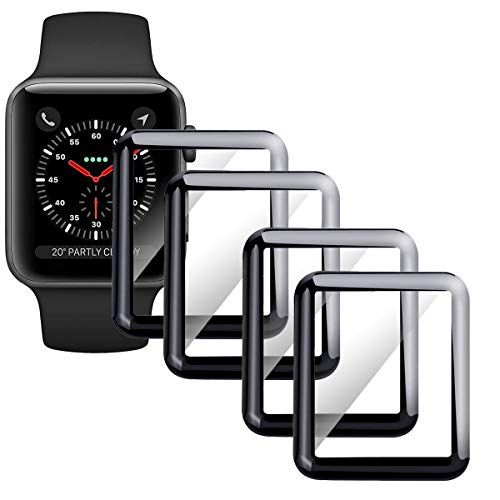 Moresky Compatible with Apple Watch Screen Protector 42mm Series 3/2/1 Tempered Glass, [3D Curved Edge] [Full Coverage] (4 Pack, Black)