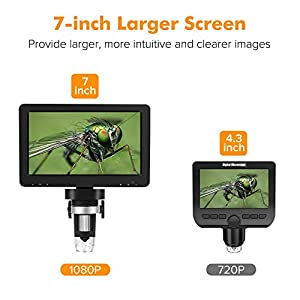 7 Inch LCD Digital Microscope with 32GB TF Card,Dcorn Handheld USB 1X-1200X Magnification 1080P Video Camera Coin microscopio for Error Coins Soldering Kids,PC View,Windows/Mac Compatible