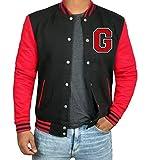 Mens Black Red Fleece Lightweight Baseball Jackets | G Red Sleeve | XL