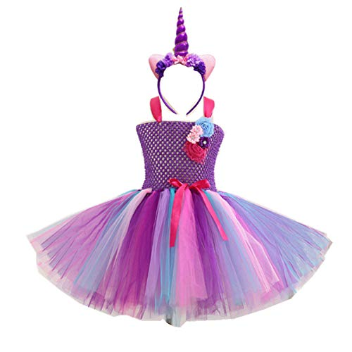 Kids Girls Tutu Unicorn Party Fancy Dress for Cosplay Festival Performance Birthday Wedding Carnival Halloween Ball Gown (Color3, 10-11 -