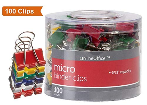 1InTheOffice Multicolored Binder Clips, Micro, 100 ct.