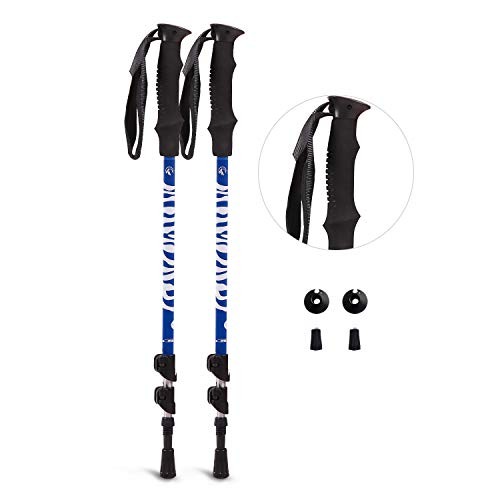 REDCAMP 7075 Aluminium Hiking Poles Collapsible, Ultralight Quick Flip Lock Trekking Cane Adjustable for Men Women, Blue