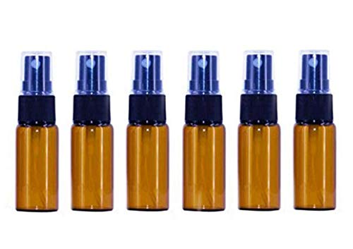 6PCS 15ml/0.5oz Empty Refill Amber Round Glass Spray Bottle with Black Fine Mist Sprayer and Clear Cap Cosmetic Makeup Travel Sample Packing Storage Container DIY Beauty Tool (Spray 0.5 Ounce Refill)