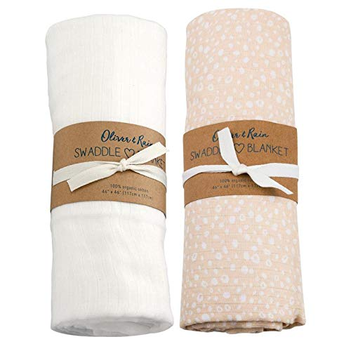 - Oliver & Rain - Organic Cotton Muslin Light Pink Cheetah Dot & White Swaddle Sampler, NB, 2-Pack